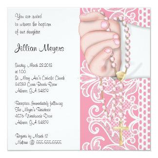 Het eenvoudige Elegante Roze Doopsel/het Doopsel 13,3x13,3 Vierkante Uitnodiging Kaart