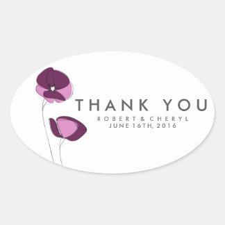 Het eenvoudige Paarse Huwelijk van de Bloem dankt Ovale Sticker