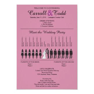 Het eenvoudige Programma van het Huwelijk van 12,7x17,8 Uitnodiging Kaart