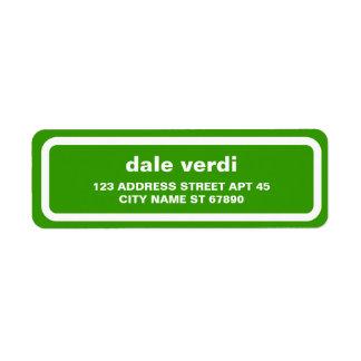 Het eenvoudige Witte Groene Etiket van het Adres