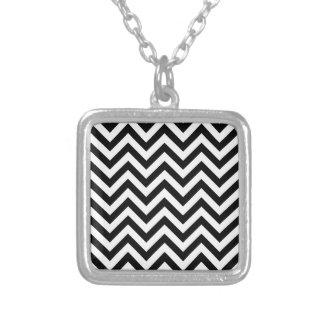 Het eenvoudige Zwarte Witte Patroon van de Chevron Zilver Vergulden Ketting