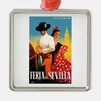 Het Eerlijke Poster van Sevilla April van Spanje Zilverkleurig Vierkant Ornament