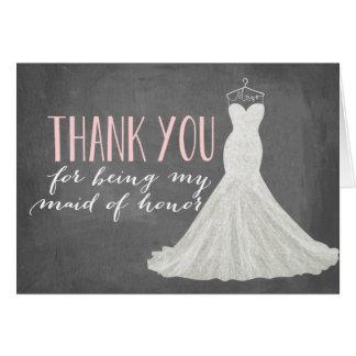 Het eerste bruidsmeisje dankt u het Bruidsmeisje Notitiekaart