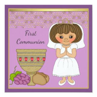 Het eerste Meisje van de Heilige Communie in Paars 13,3x13,3 Vierkante Uitnodiging Kaart