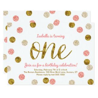 Het eerste verjaardag-Roze en het Goud schitteren 12,7x17,8 Uitnodiging Kaart