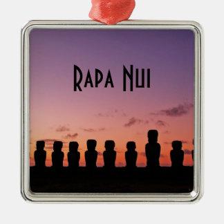 Het Eiland Rapa Nui Chili Zuid-Amerika van Pasen Zilverkleurig Vierkant Ornament