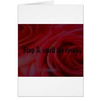 Het einde & ruikt de rozen wenskaart