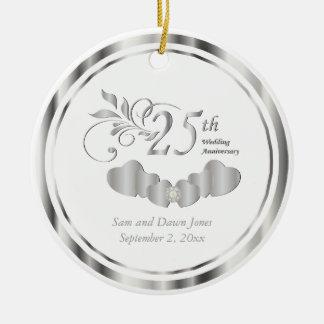 Het elegante 25ste Jubileum van de Zilveren Rond Keramisch Ornament
