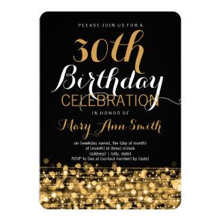Het elegante 30ste Goud van de Fonkelingen van de 12,7x17,8 Uitnodiging Kaart