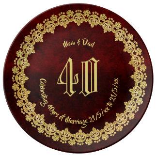 Het elegante 40ste ROBIJNRODE Goud van de Ouders Porseleinen Bord