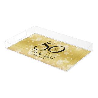 Het elegante 50ste Jubileum van de Gouden bruiloft Acryl Dienblad