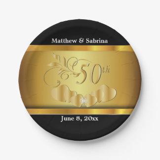 Het elegante 50ste Jubileum van de Gouden bruiloft Papieren Bordje