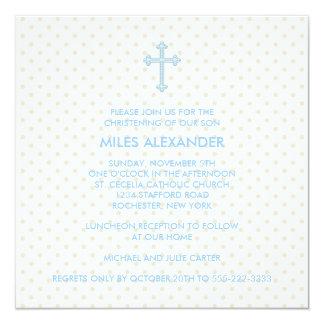 Het elegante Beige Blauwe Dwars Dopen van Jongens 13,3x13,3 Vierkante Uitnodiging Kaart