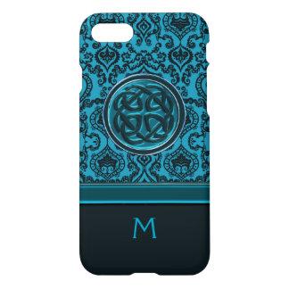 Het Elegante Blauwe Damast van het monogram en iPhone 8/7 Hoesje