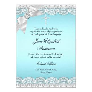 Het elegante Blauwe Doopsel van het Kant van de 12,7x17,8 Uitnodiging Kaart