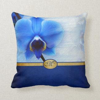 Het Elegante Blauwe Geweven Goud met monogram van Sierkussen