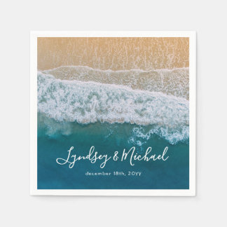 Het elegante Blauwe OceaanHuwelijk van het Strand Papieren Servetten