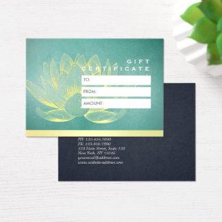 Het elegante Blauwgroen Gouden Certificaat van de Visitekaartjes