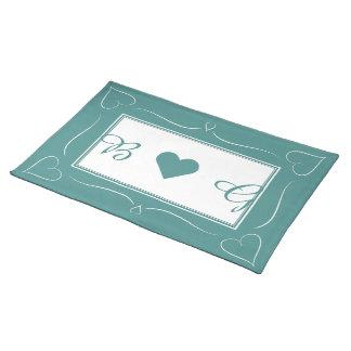 Het elegante Blauwgroen Monogram Placemat van het