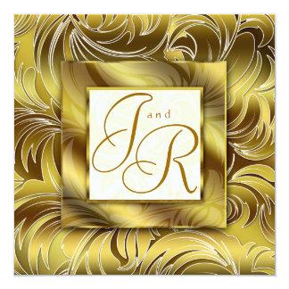Het elegante BloemenGoud van het Blad van de 13,3x13,3 Vierkante Uitnodiging Kaart