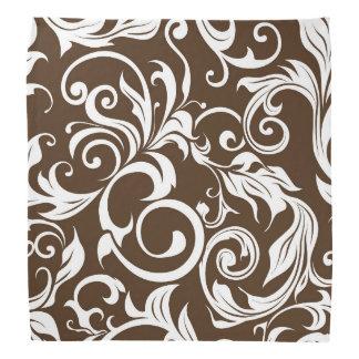 Het elegante Chocoladebruine BloemenPatroon van Bandana