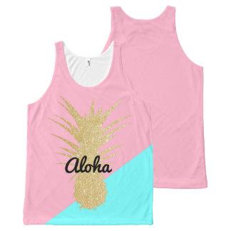 het elegante de zomergoud schittert ananas roze All-Over-Print tank top