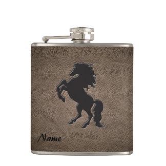 Het elegante elegante luxeleer kijkt paard heupfles