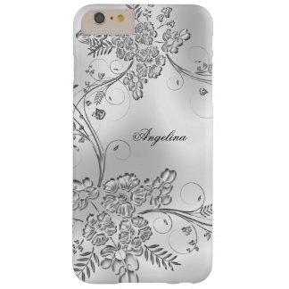 Het elegante Elegante Zilveren Metaal Bloemen ziet Barely There iPhone 6 Plus Hoesje