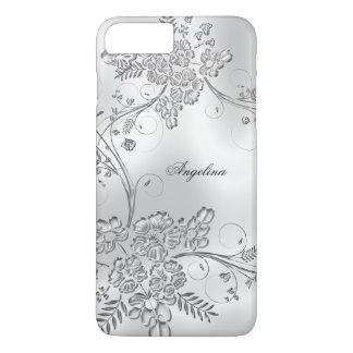 Het elegante Elegante Zilveren Metaal Bloemen ziet iPhone 8/7 Plus Hoesje