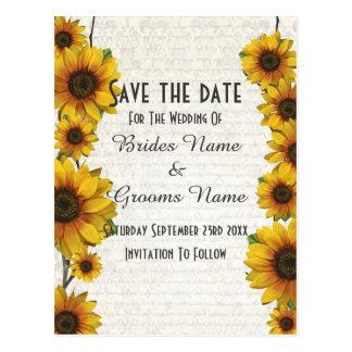 Het elegante gele zonnebloemland bewaart de datum briefkaart