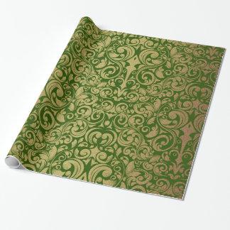 Het elegante Goud schittert Koninklijk Groen Inpakpapier