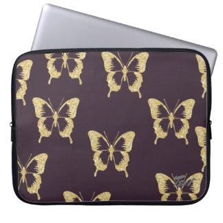 het elegante goud schittert vlinder computer sleeve