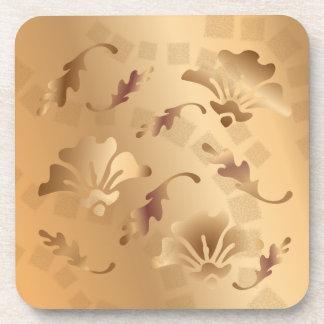 Het elegante Goud stemde de Beige BloemenReeks van Onderzetters