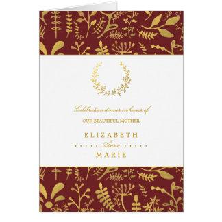 Het elegante Gouden BloemenDiner van het Moederdag Notitiekaart