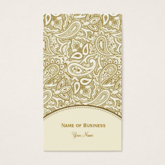 Het elegante Gouden en Witte Damast van Paisley Visitekaartjes