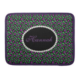 Het elegante Groen & van de Luipaard Purp Monogram MacBook Pro Sleeve