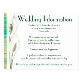 Het elegante Groene en Witte Calla BloemenHuwelijk Briefkaart