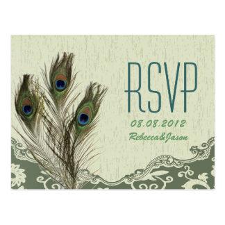 het elegante huwelijk RSVP van de vintage land Briefkaart