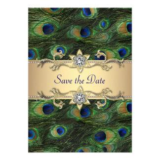 Het elegante Huwelijk van de Pauw bewaart de Datum Persoonlijke Aankondigingen