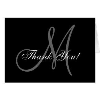 Het elegante Huwelijk van het Monogram dankt u Notitiekaart