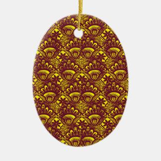 Het elegante Kastanjebruine en Gele Patroon van Keramisch Ovaal Ornament
