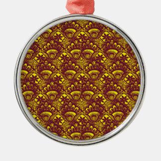 Het elegante Kastanjebruine en Gele Patroon van Zilverkleurig Rond Ornament