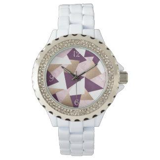 het elegante kuiken nam gouden roze marmeren horloges