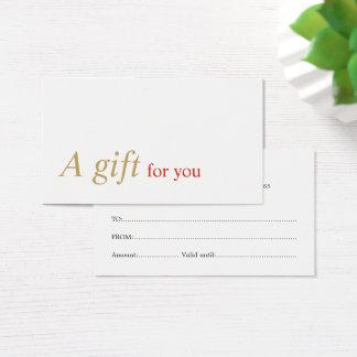Het elegante Minimale Certificaat van de Gift van Visitekaartjes