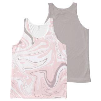 Het elegante minimalistische roze en witte marmer All-Over-Print tank top