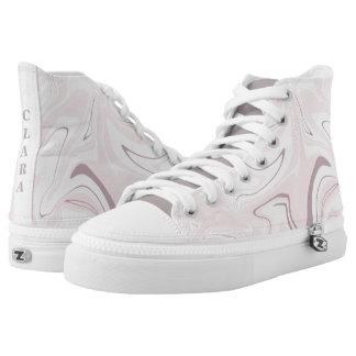 Het elegante minimalistische roze en witte marmer high top schoenen