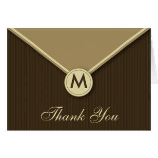 Het elegante Monogram Mocha van de Envelop dankt u Briefkaarten 0