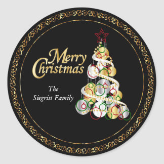 Het elegante Ontwerp van de Kerstboom Ronde Sticker