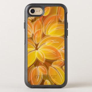 Het elegante oranje Patroon van Bloemblaadjes OtterBox Symmetry iPhone 7 Hoesje