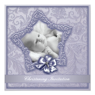 Het elegante Paarse Doopsel van de Lavendel Custom Uitnodging